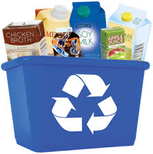Recyclables in blue bin